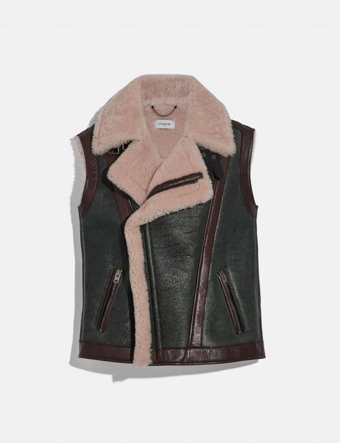 Coach Shearling Vest Black/Pink New Women's New Arrivals Collection