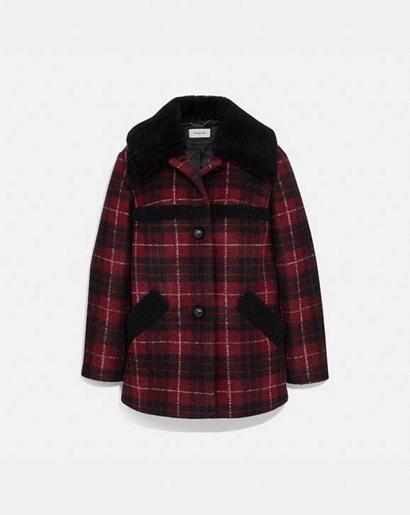 Coach PLAID WOOL COAT WITH SHEARLING TRIM