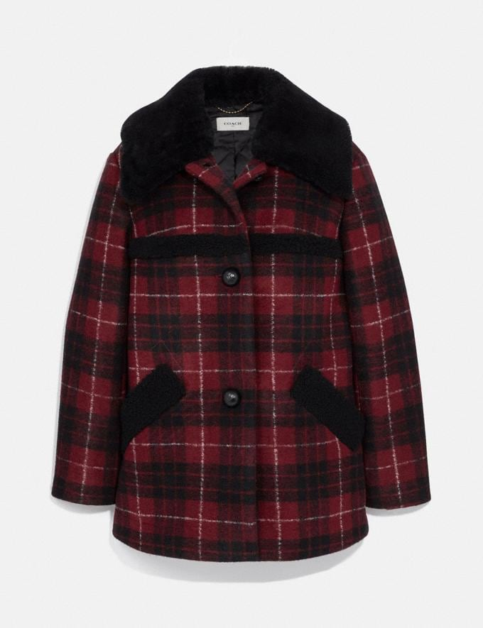 Coach Plaid Wool Coat With Shearling Trim Red/Black Women Edits Cold Weather Edit