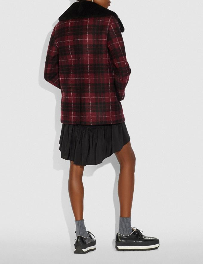 Coach Plaid Wool Coat With Shearling Trim Red/Black Women Edits Cold Weather Edit Alternate View 2