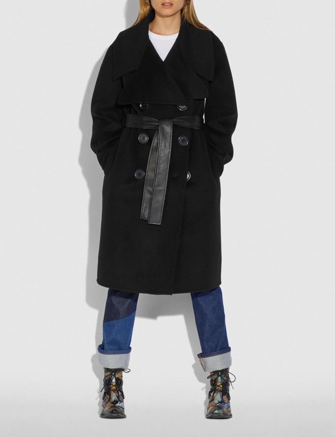 Coach Luxury Wool Coat Black  Alternate View 1