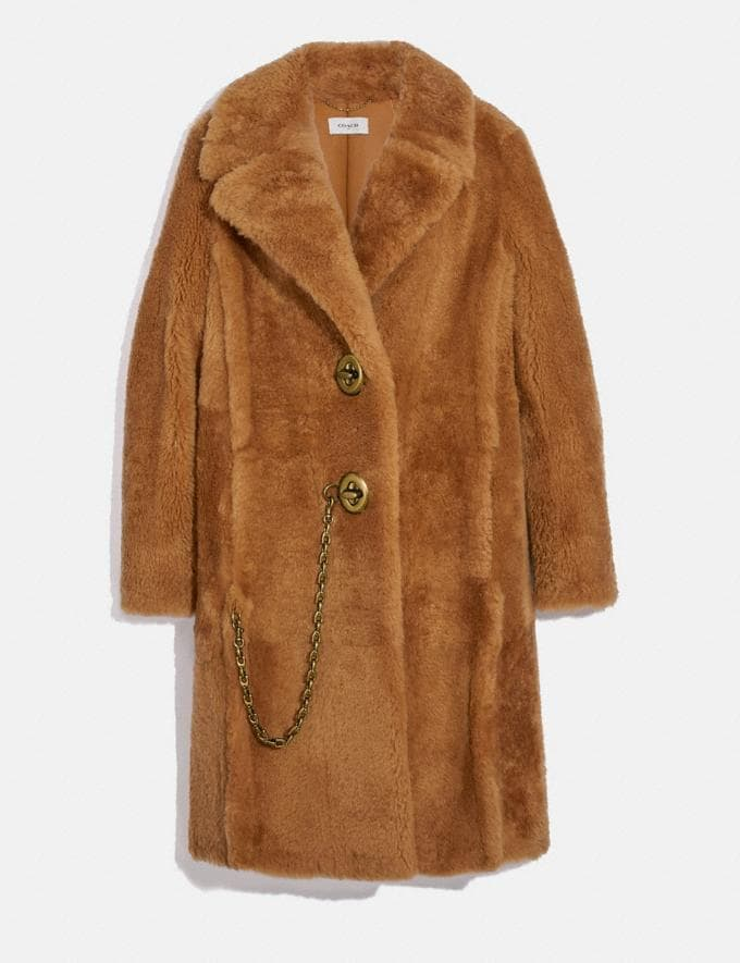 Coach Long Shearling Coat Caramel New Women's New Arrivals Ready-to-Wear
