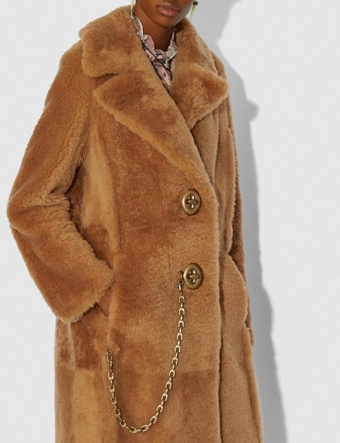 Coach Long Shearling Coat Caramel New Women's New Arrivals Ready-to-Wear Alternate View 3