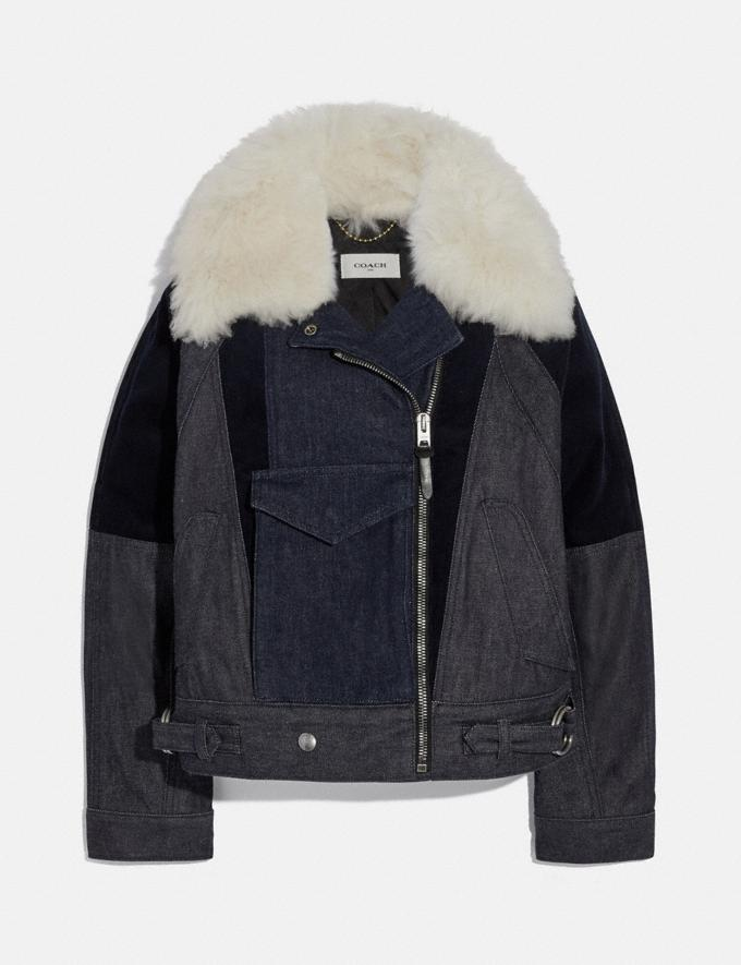 Coach Denim Jacket With Shearling Collar Light Wash