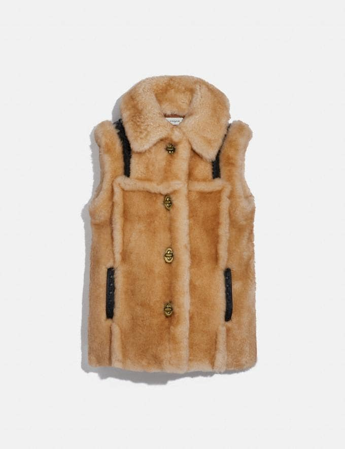 Coach Shearling Vest Bamboo