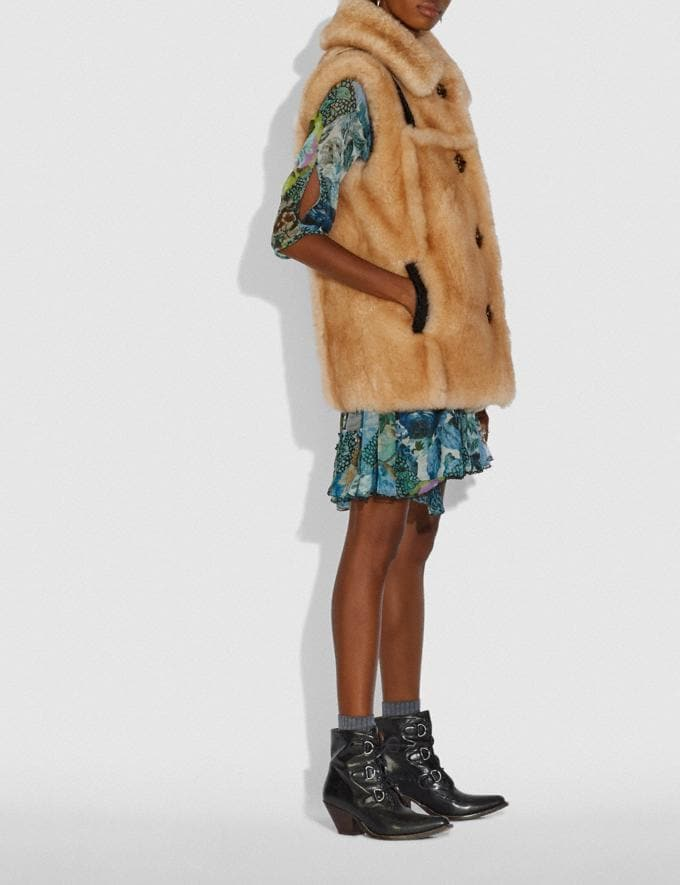 Coach Shearling Vest Bamboo  Alternate View 1