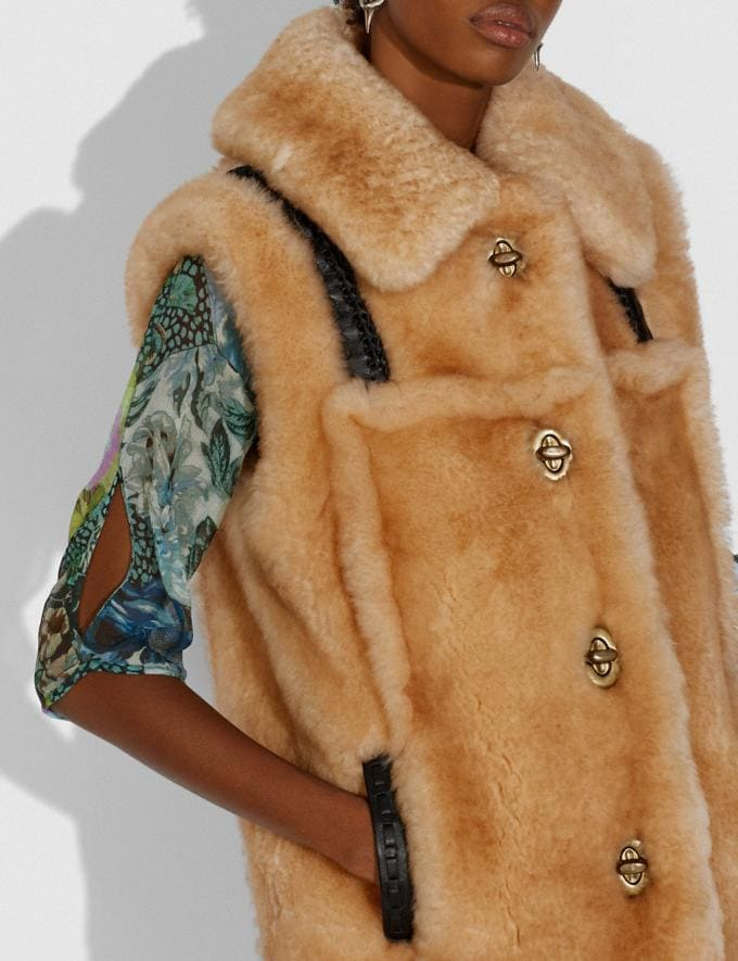 Coach Shearling Vest Bamboo  Alternate View 3