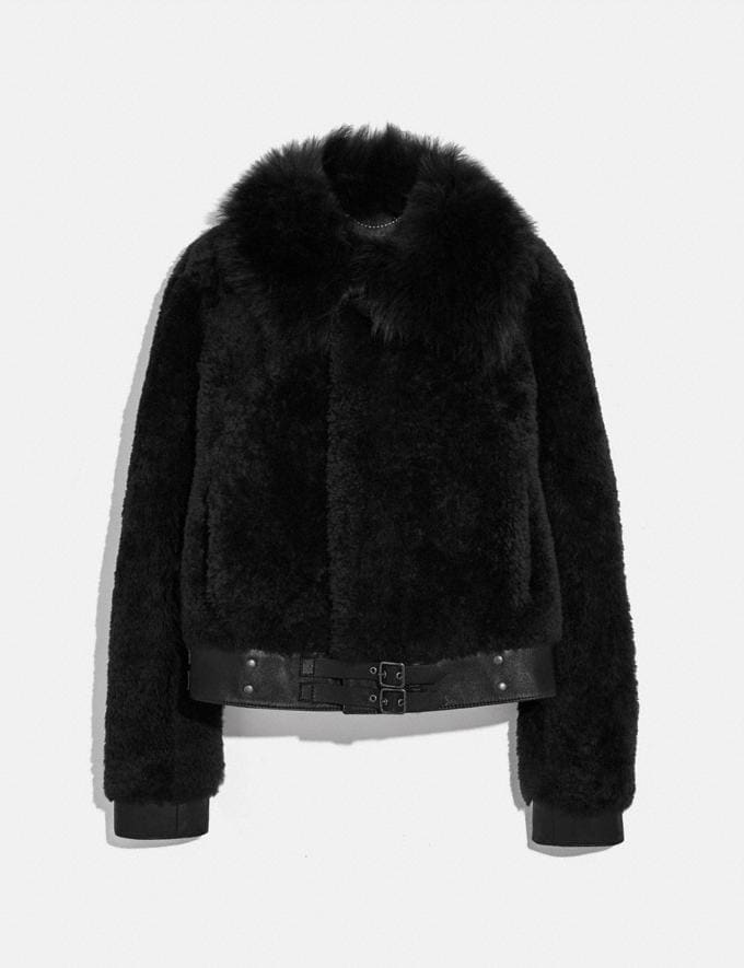 Coach Short Shearling Jacket Black Women Edits Cold Weather Edit