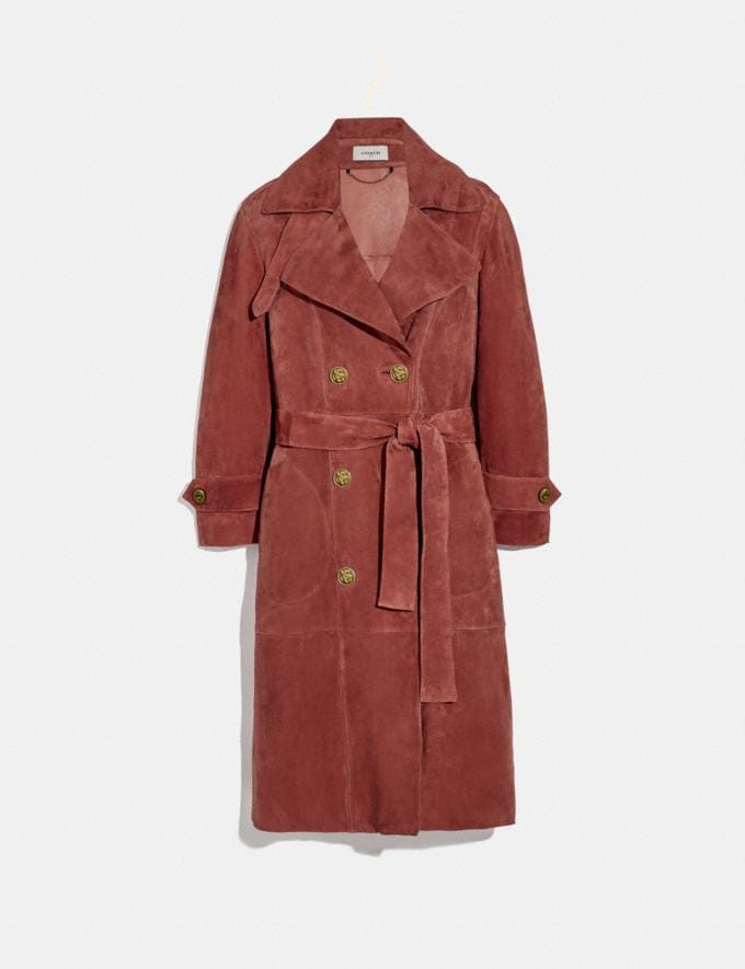 Coach Drapey Suede Trench Coat Rose Women Ready-to-Wear Jackets & Outerwear