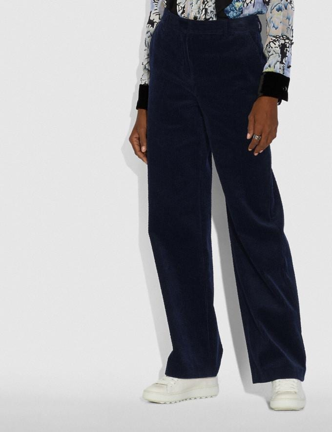 Coach Corduroy Trousers Dark Navy Women Ready-to-Wear Bottoms Alternate View 1