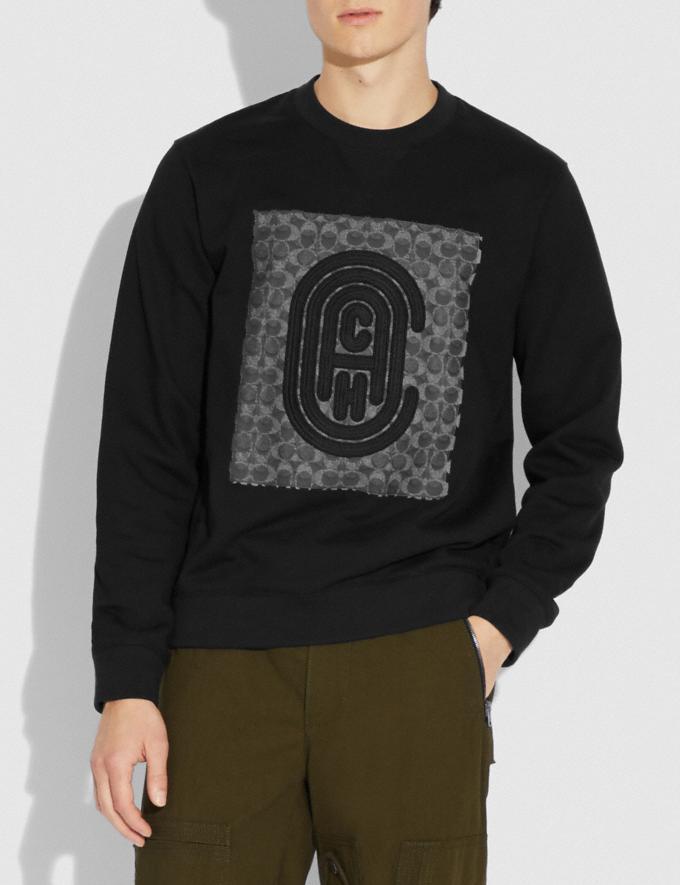 Coach Retro Signature Sweatshirt Black New Men's New Arrivals Ready-to-Wear Alternate View 1