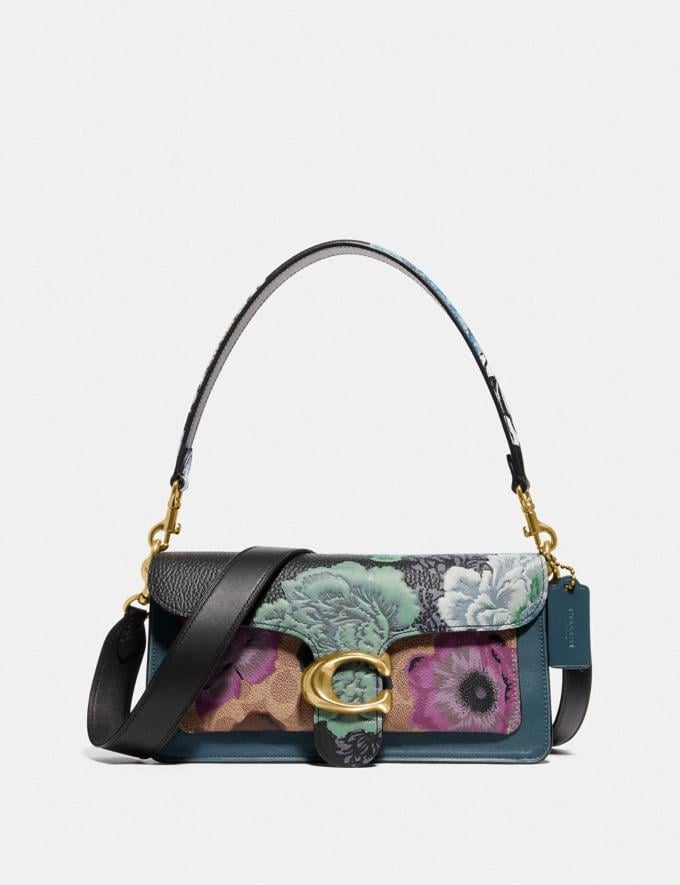 Coach Tabby Shoulder Bag 26 in Signature Canvas With Kaffe Fassett Print Tan Purple Multi/Pewter Women Collection Tabby