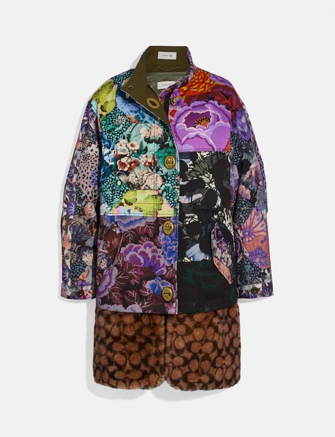 Coach Patchwork Parka With Kaffe Fassett Print and Removable Signature Shearling Liner Multi VIP SALE Women's Sale Ready-to-Wear