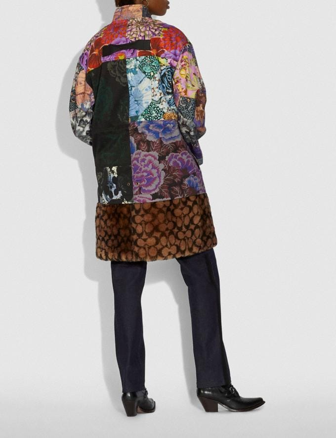 Coach Patchwork Parka With Kaffe Fassett Print and Removable Signature Shearling Liner Multi VIP SALE Women's Sale Ready-to-Wear Alternate View 2