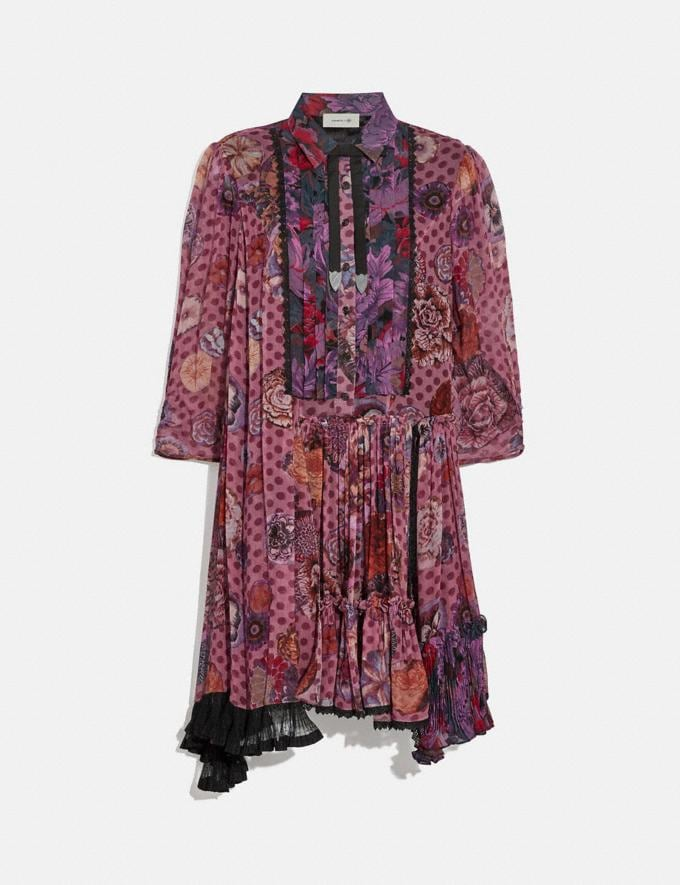 Coach Asymmetrical Dress With Kaffe Fassett Print Purple/Red Women Ready-to-Wear Dresses