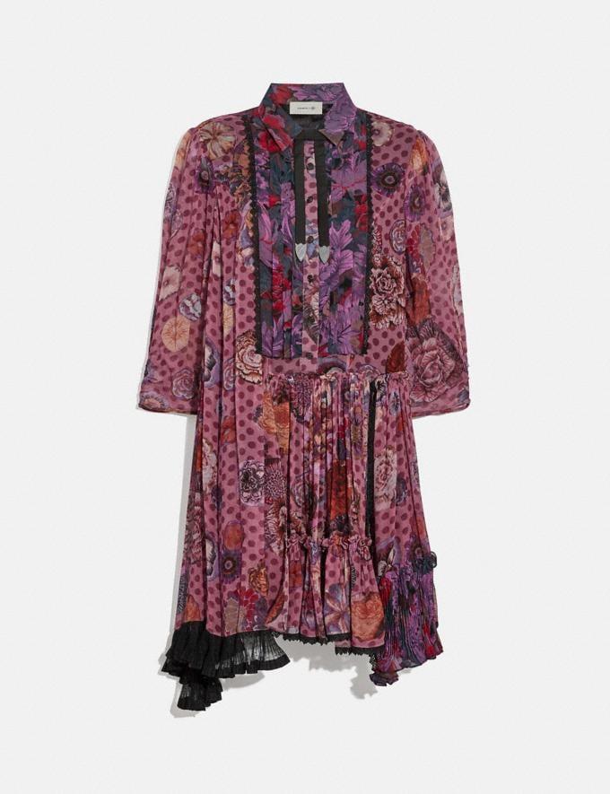 Coach Asymmetrical Dress With Kaffe Fassett Print Purple/Red New Women's New Arrivals Ready-to-Wear