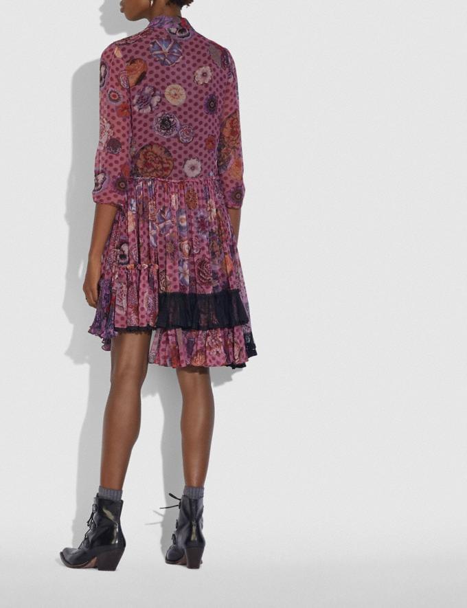 Coach Asymmetrisches Kleid Mit Print Von Kaffe Fassett Lila/Rot  Alternative Ansicht 2
