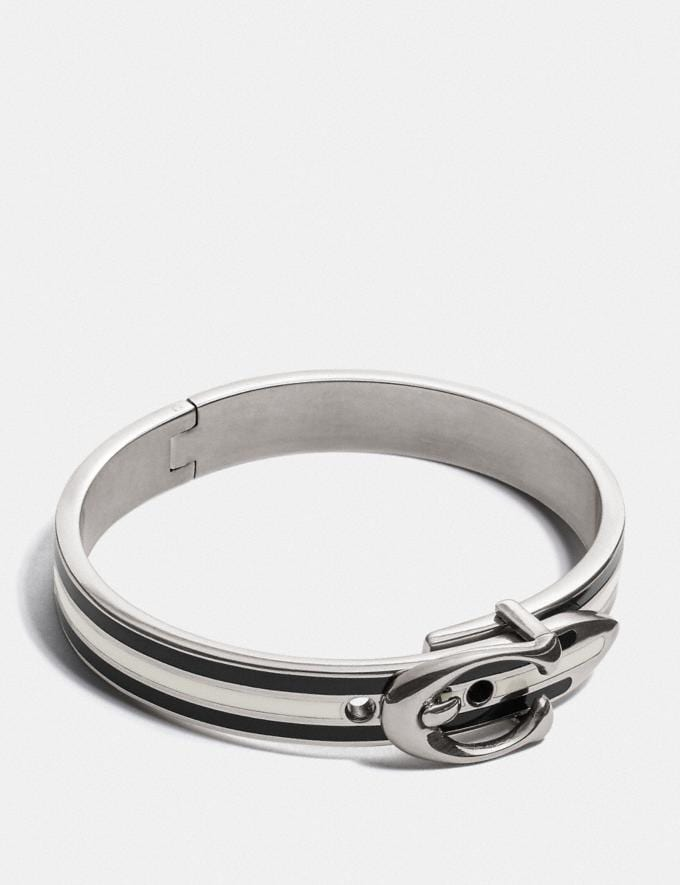 Coach Signature Buckle Cuff Black/Silver Women Accessories Jewellery