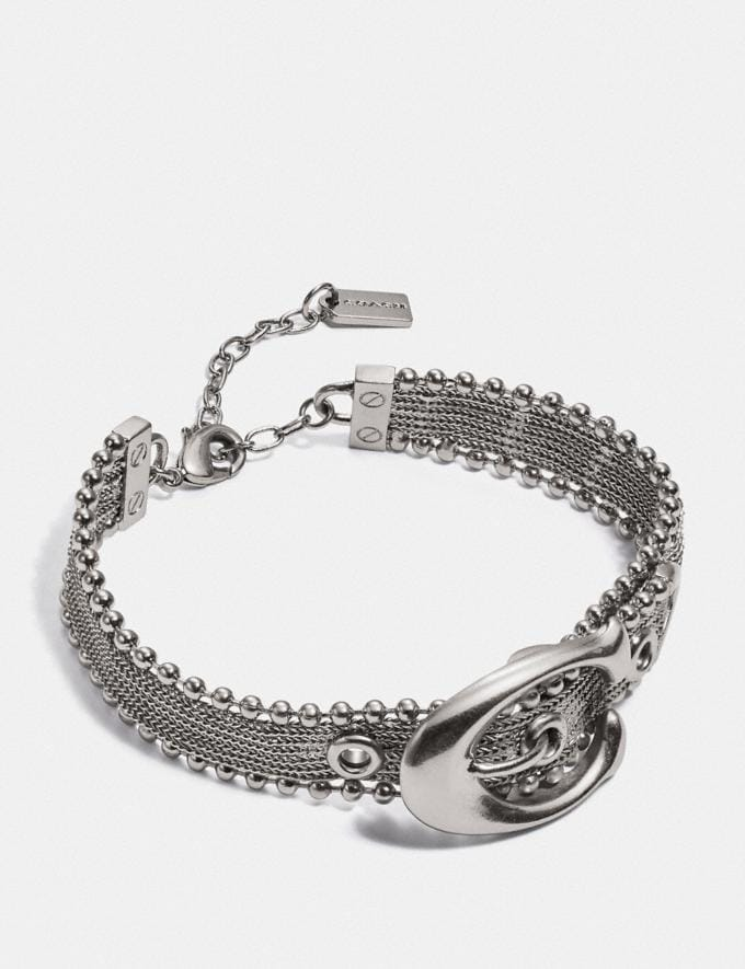 Coach Mesh Signature Buckle Bracelet Silver Women Accessories Jewellery Bracelets