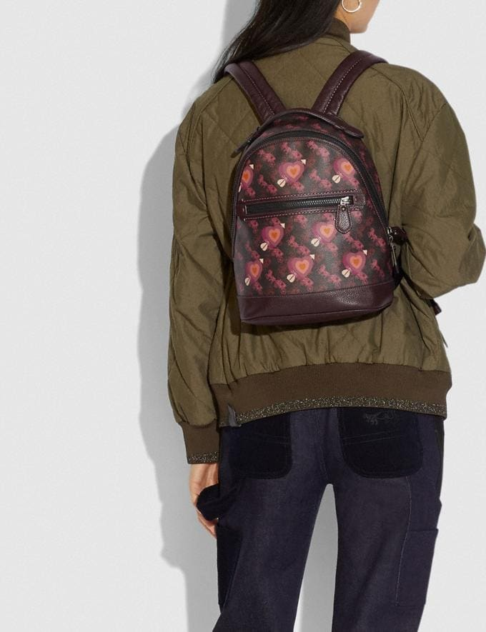 Coach Barrow Backpack With Horse and Carriage Print and Hearts V5/Black Oxblood New Women's New Arrivals Alternate View 3