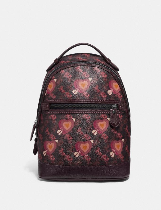 Coach Barrow Backpack With Horse and Carriage Print and Hearts V5/Black Oxblood New Women's New Arrivals