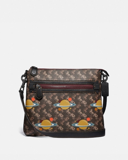 OLIVE CROSSBODY WITH HORSE AND CARRIAGE PRINT AND PLANETS