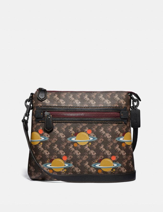 Coach Olive Crossbody With Horse and Carriage Print and Planets Pewter/Brown Black Gifts For Her Under $500