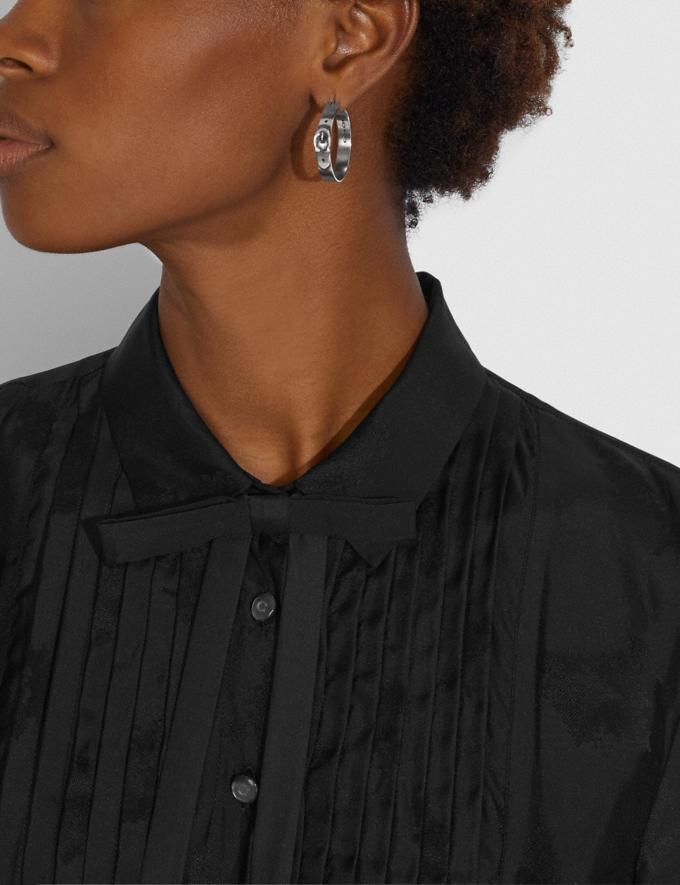 Coach Signature Buckle Hoop Earrings Silver Women Accessories Jewellery Earrings Alternate View 1