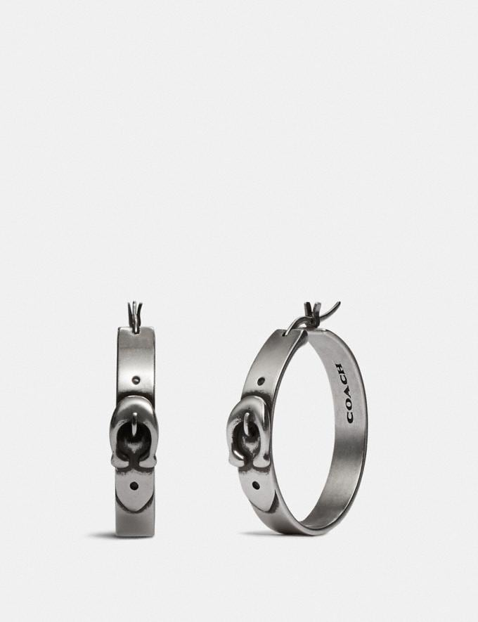 Coach Signature Buckle Hoop Earrings Silver New Women's New Arrivals Accessories