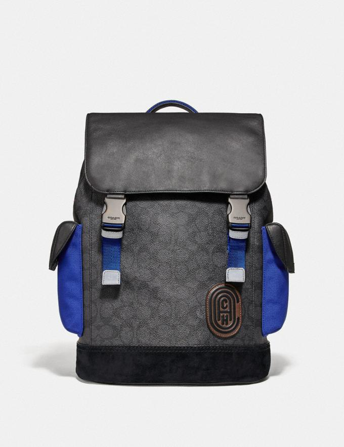 Coach Rivington Backpack in Signature Canvas With Coach Patch Black Copper/Black Men Bags Backpacks