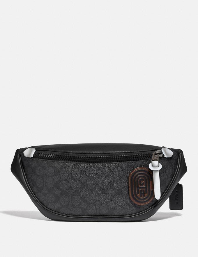 Coach Rivington Belt Bag in Signature Canvas With Coach Patch Black Copper/Black Men Bags Belt Bags