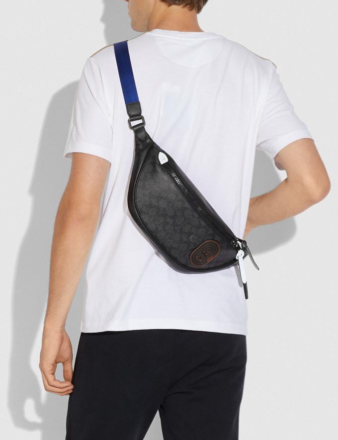 Coach Rivington Belt Bag in Signature Canvas With Coach Patch Black Copper/Black Men Bags Belt Bags Alternate View 4