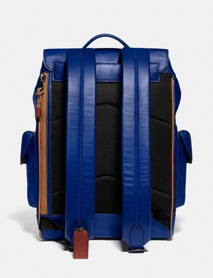 Coach Rivington Backpack With Coach Patch Black Copper/Sport Blue Multi Men Bags Backpacks Alternate View 2