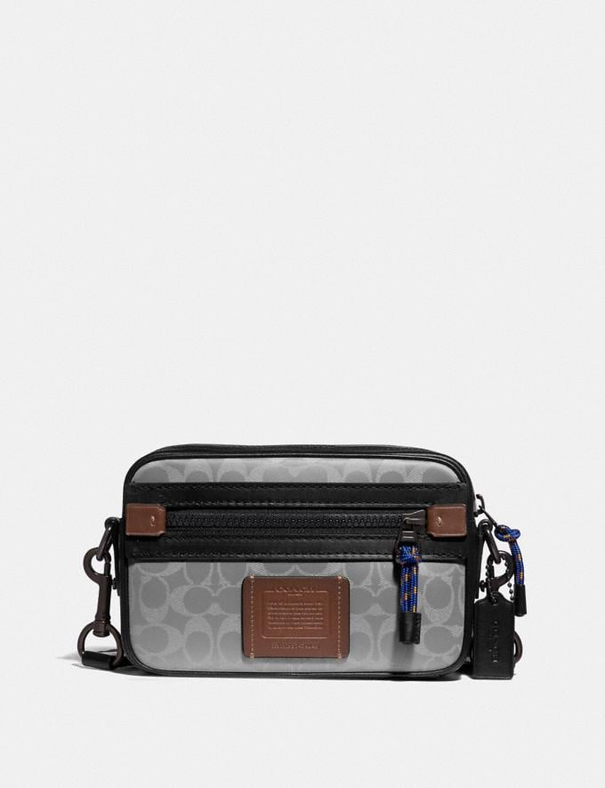 Coach Academy Crossbody in Reflective Signature Canvas Ji/Silver New Men's New Arrivals Bags