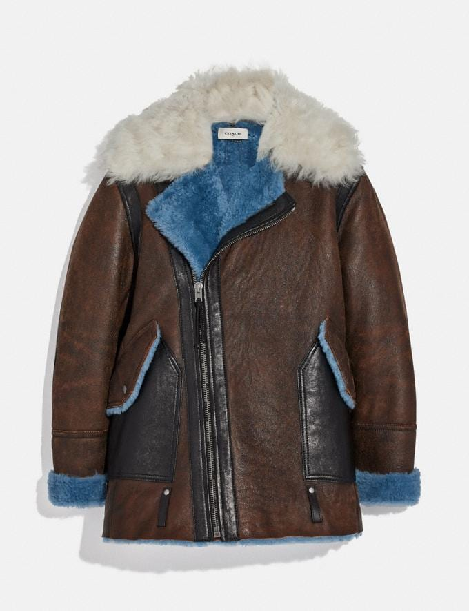 Coach Shearling Aviator Jacket Blue Men Ready-to-Wear Coats & Jackets