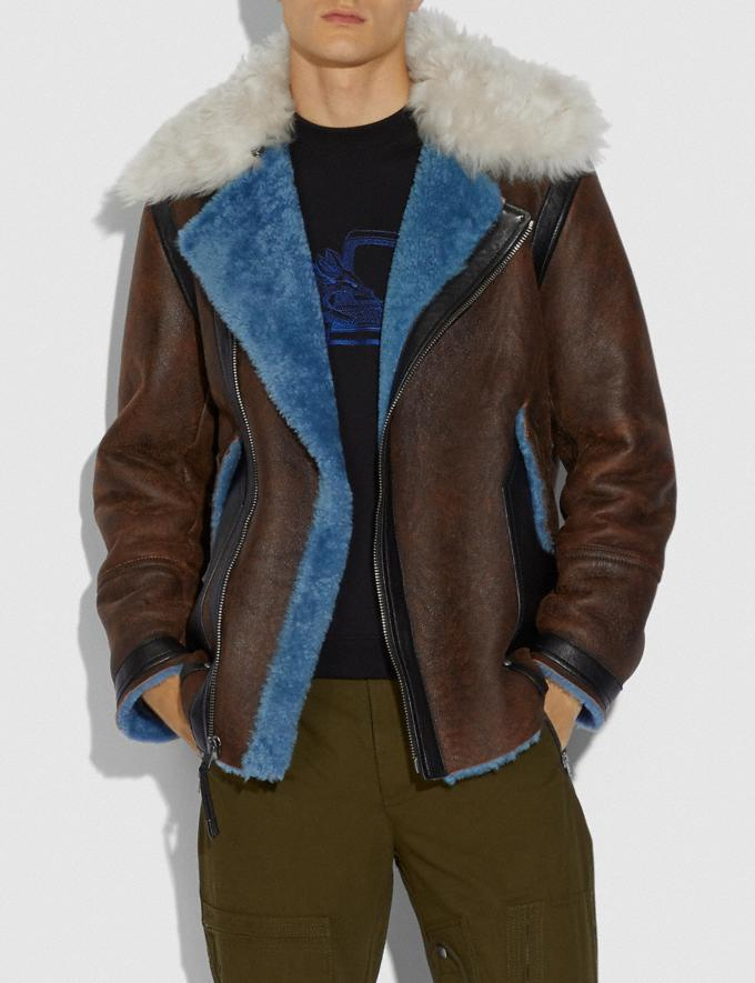 Coach Shearling Aviator Jacket Blue Men Ready-to-Wear Coats & Jackets Alternate View 1