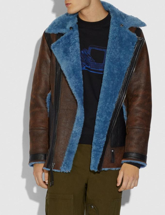 Coach Shearling Aviator Jacket Blue Men Ready-to-Wear Coats & Jackets Alternate View 3