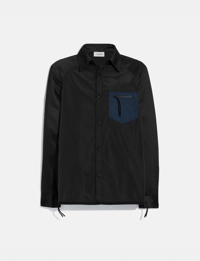 Coach Colorblock Satin Shirt Black