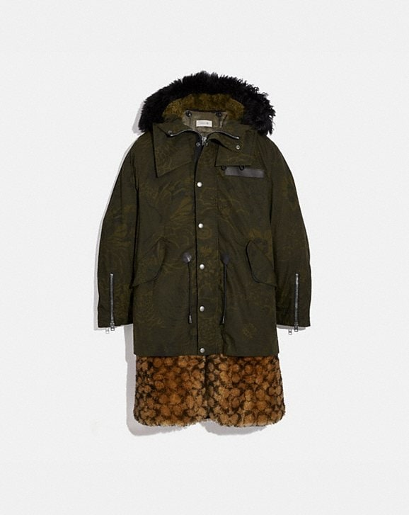 Coach SIGNATURE SHEARLING PARKA WITH KAFFE FASSETT PRINT