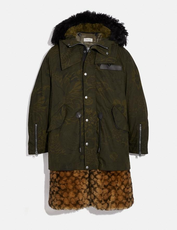 Coach Signature Shearling Parka With Kaffe Fassett Print Olive