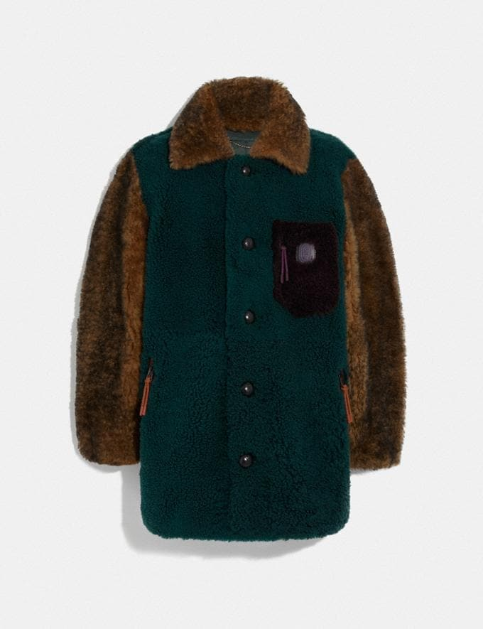 Coach Shearling Coat Teal Multicolor