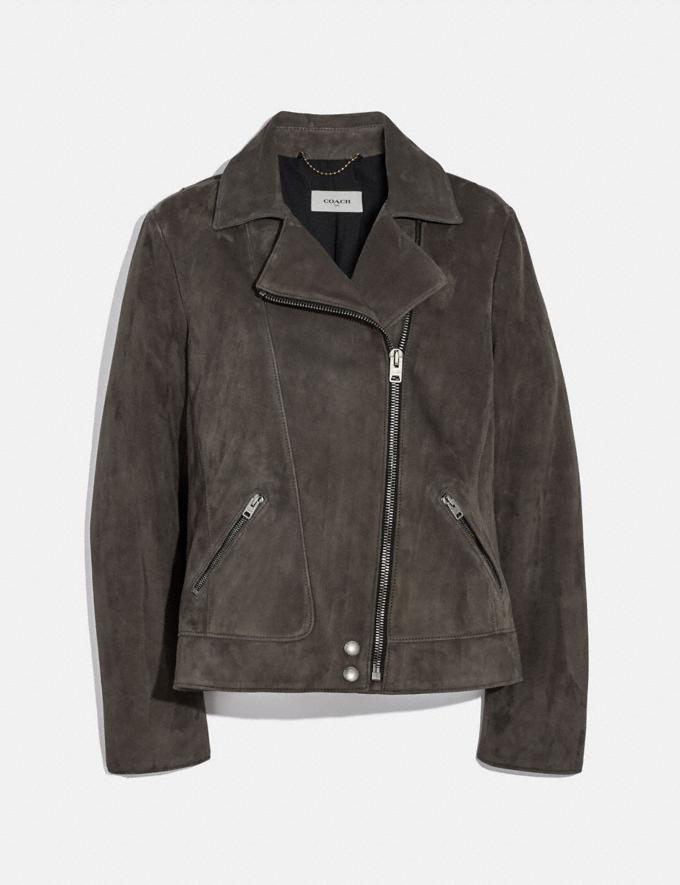 Coach Suede Moto Jacket Grey Women Ready-to-Wear Coats & Jackets