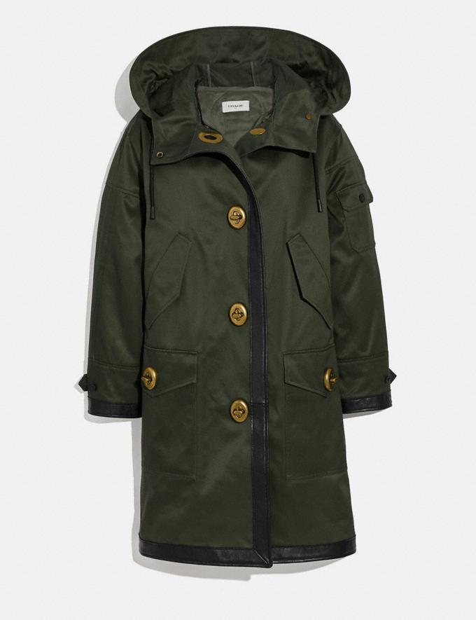 Coach Long Parka With Leather Trim Military Green Women Ready-to-Wear Jackets & Outerwear