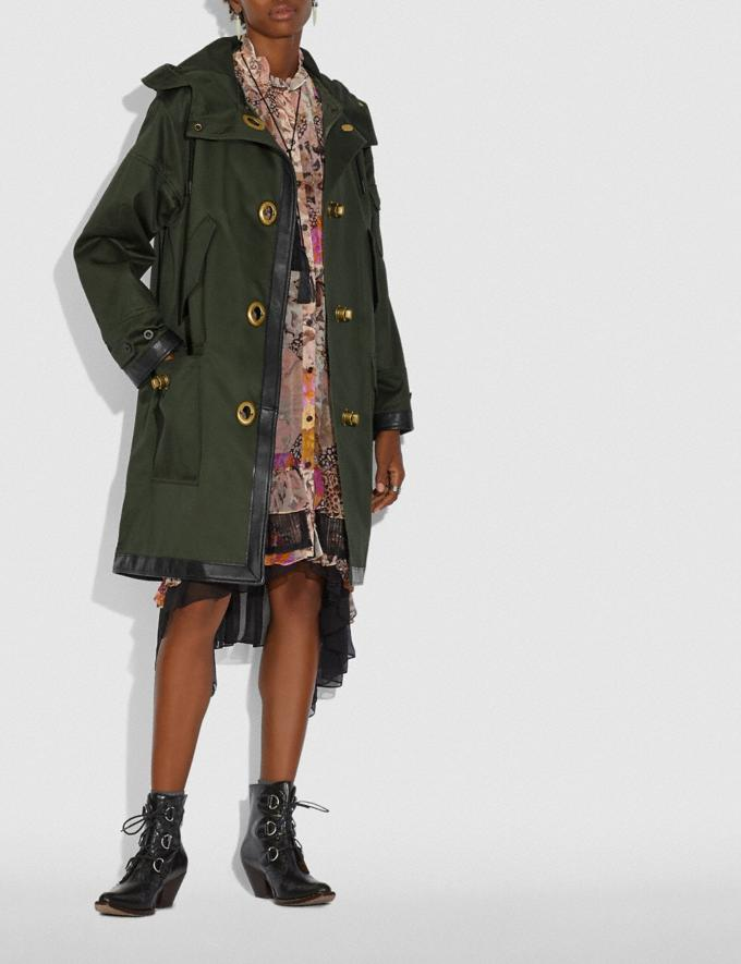 Coach Long Parka With Leather Trim Military Green New Women's New Arrivals Collection Alternate View 1