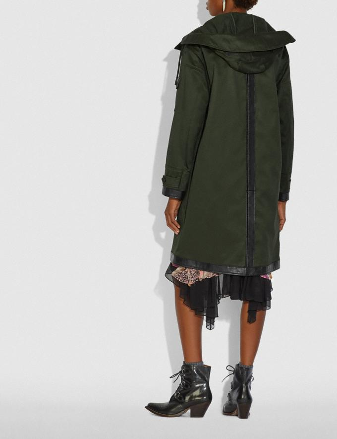 Coach Long Parka With Leather Trim Military Green New Women's New Arrivals Collection Alternate View 2