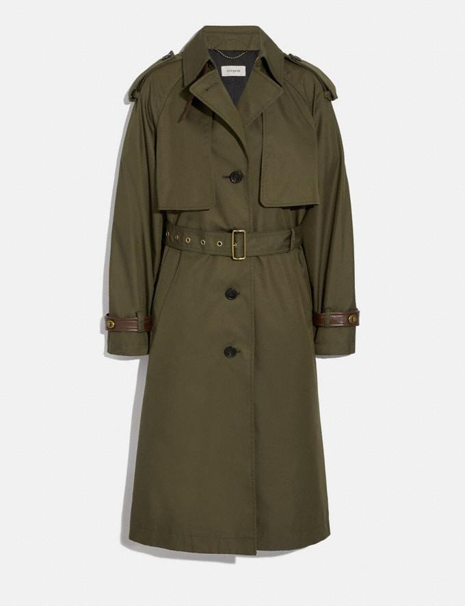 Coach Cotton Trench Coat Military Green Women Ready-to-Wear Coats & Jackets
