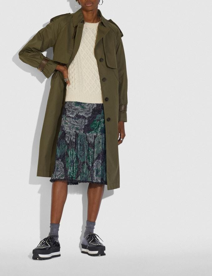 Coach Cotton Trench Coat Military Green Women Ready-to-Wear Alternate View 1