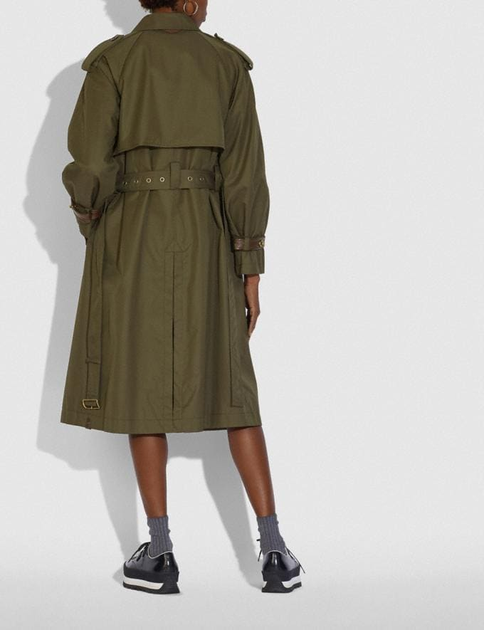 Coach Cotton Trench Coat Military Green Women Ready-to-Wear Coats & Jackets Alternate View 2