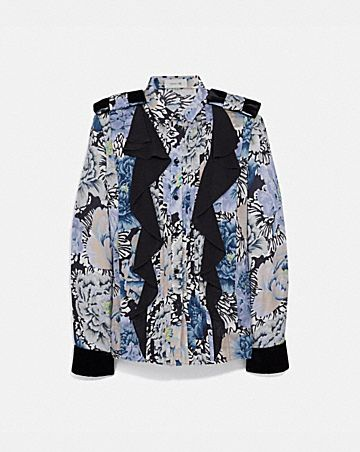 PLEATED BLOUSE WITH KAFFE FASSETT PRINT