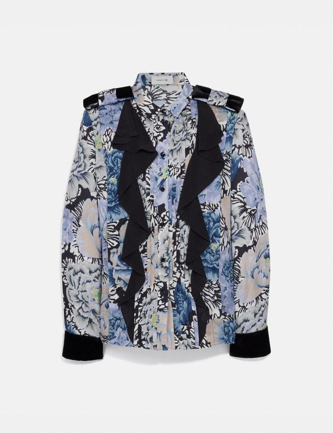 Coach Pleated Blouse With Kaffe Fassett Print Black/Blue New Women's New Arrivals Collection